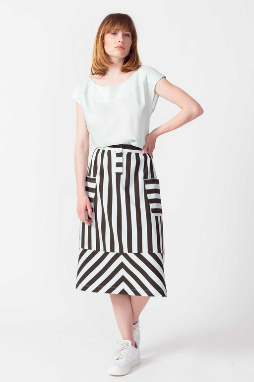 MINTZA Skirt G1 military/pastel blue stripes