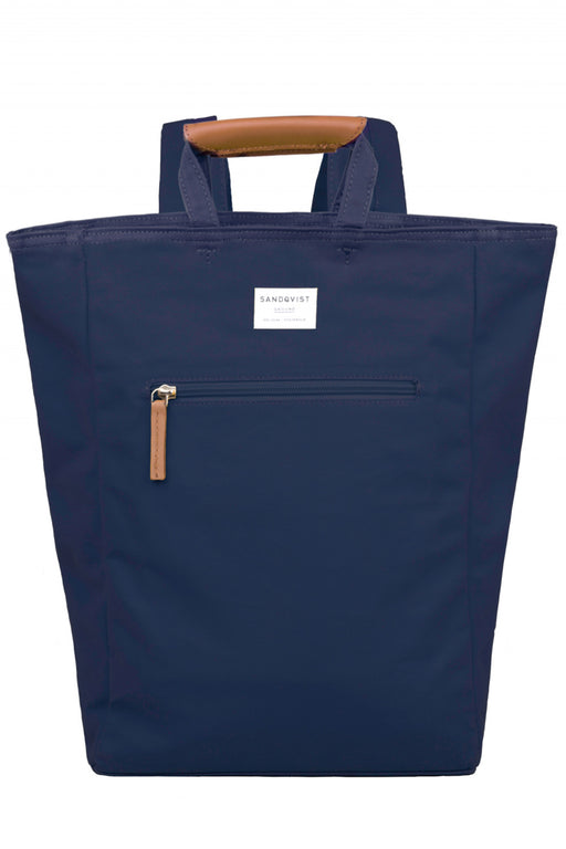 TONY Backpack/Tote Bag navy with cognac brown leather