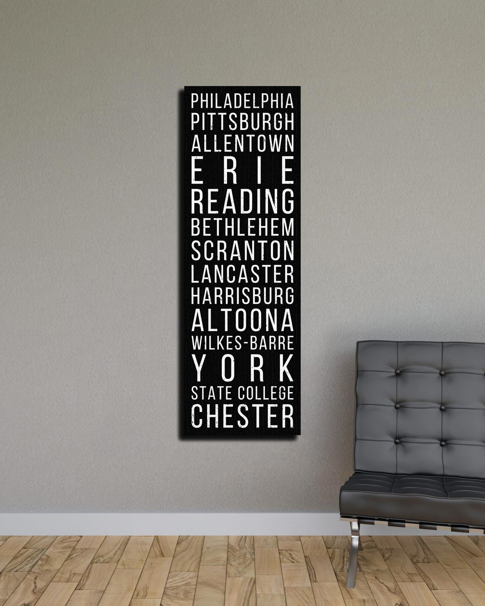 Pennsylvania Philadelphia Pittsburgh Allentown Bus Scroll Subway Canvas Print