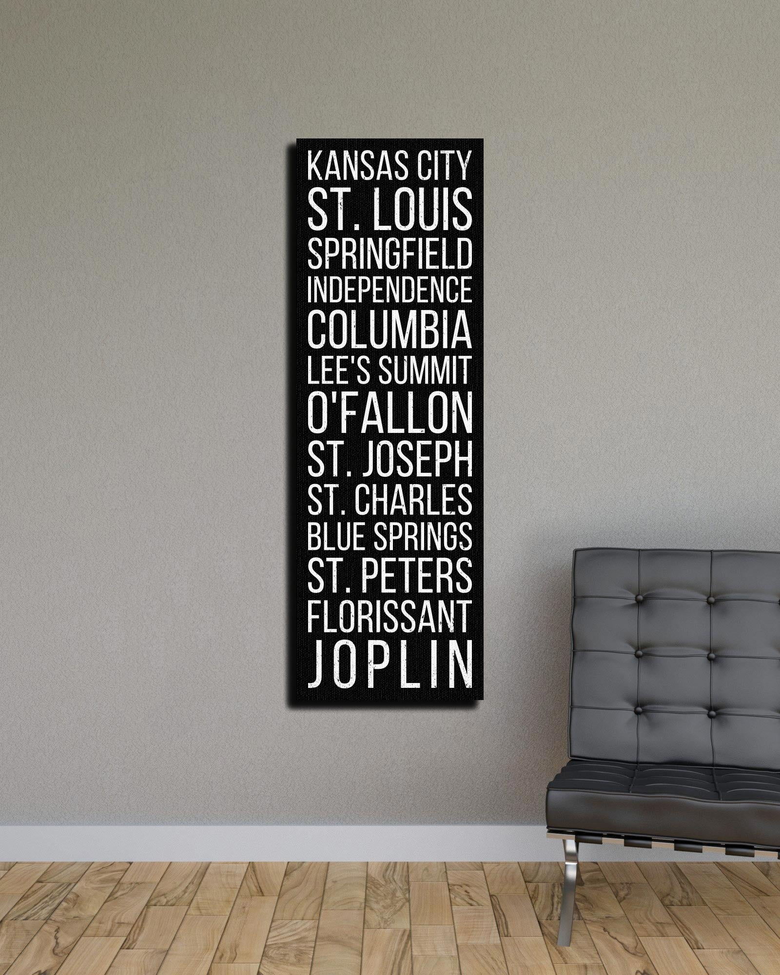 Missouri Kansas City St. Louis Springfield Bus Scroll Subway Canvas Print