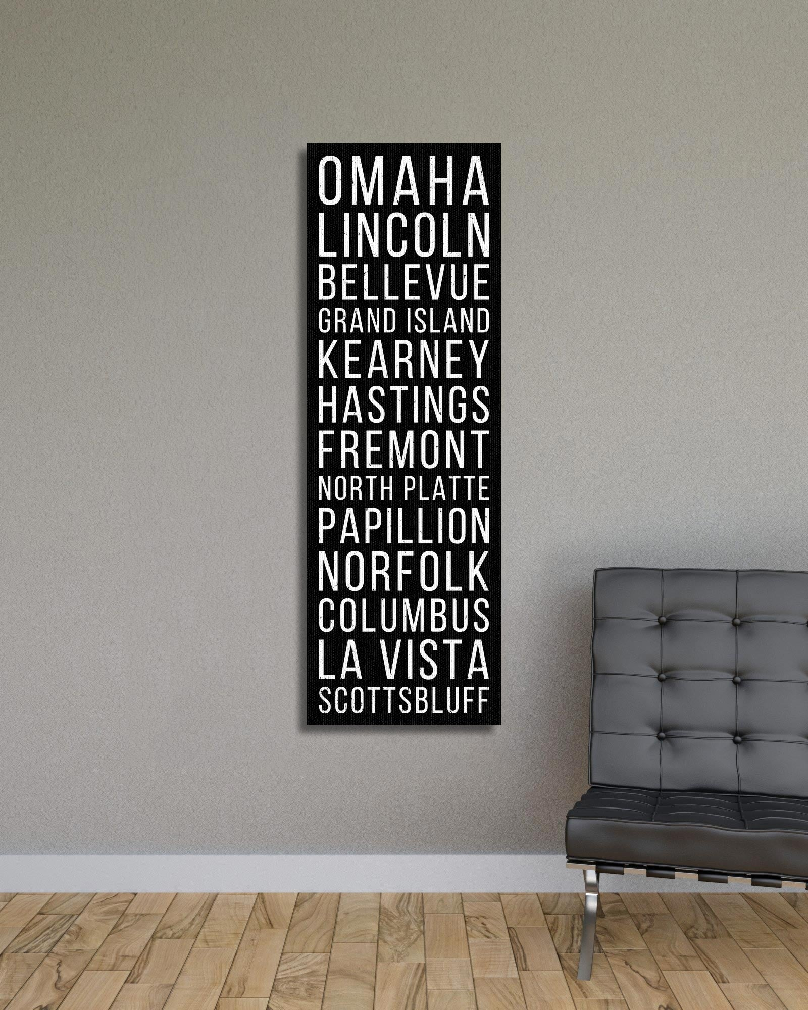 Nebraska Omaha Lincoln Bellevue Bus Scroll Subway Canvas Print