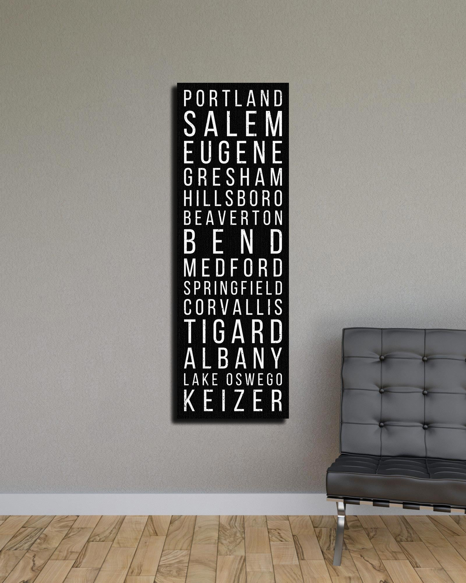 Oregon Portland Salem Eugene Bus Scroll Subway Canvas Print