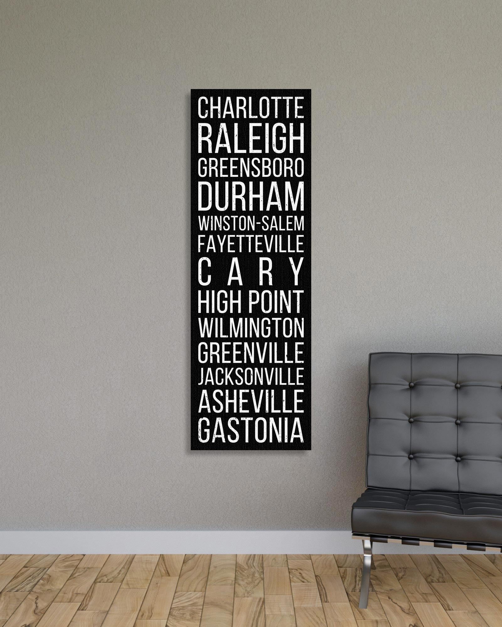 North Carolina Charlotte Raleigh Greensboro Bus Scroll Subway Canvas Print