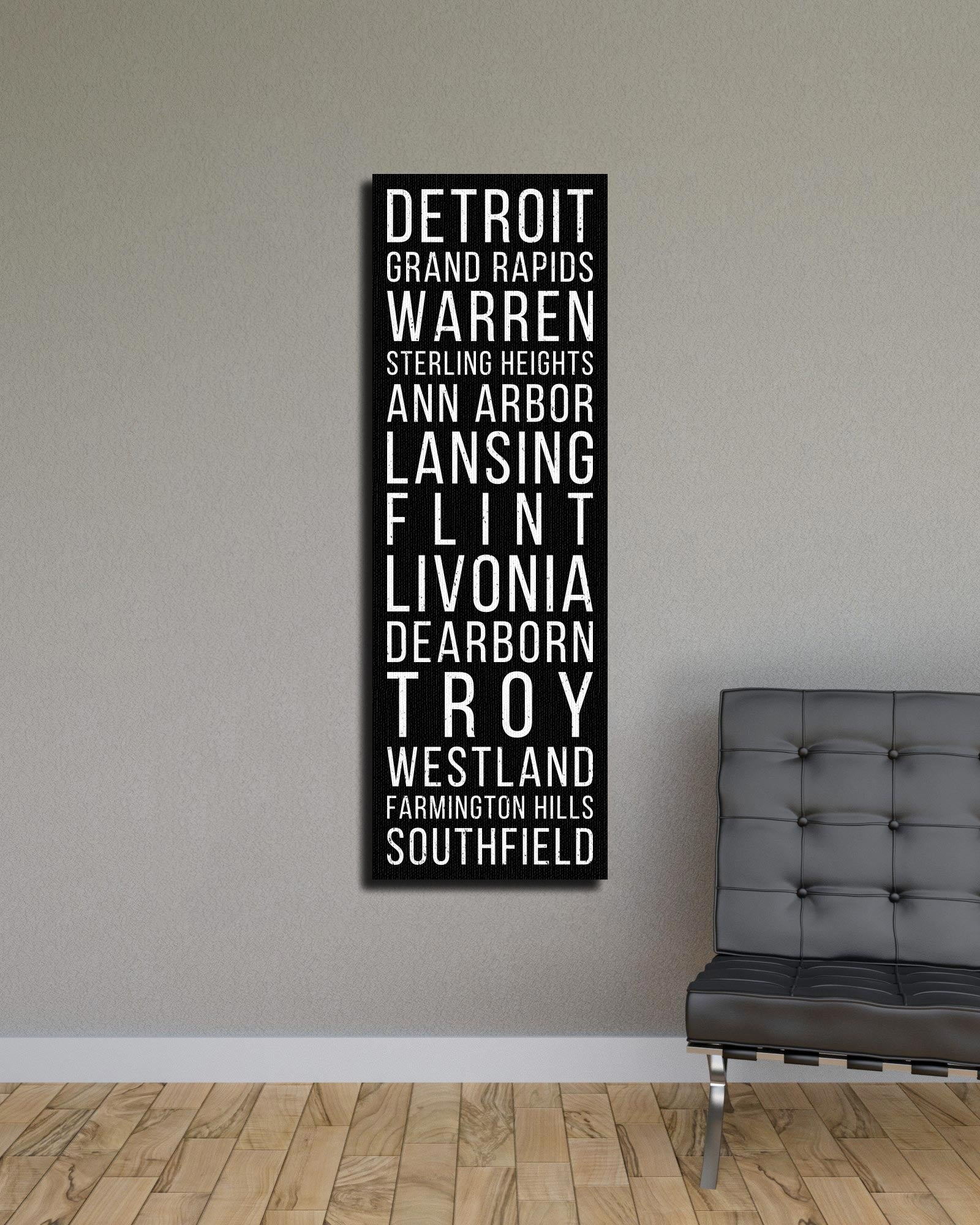 Michigan Detroit Grand Rapids Warren Bus Scroll Subway Canvas Print
