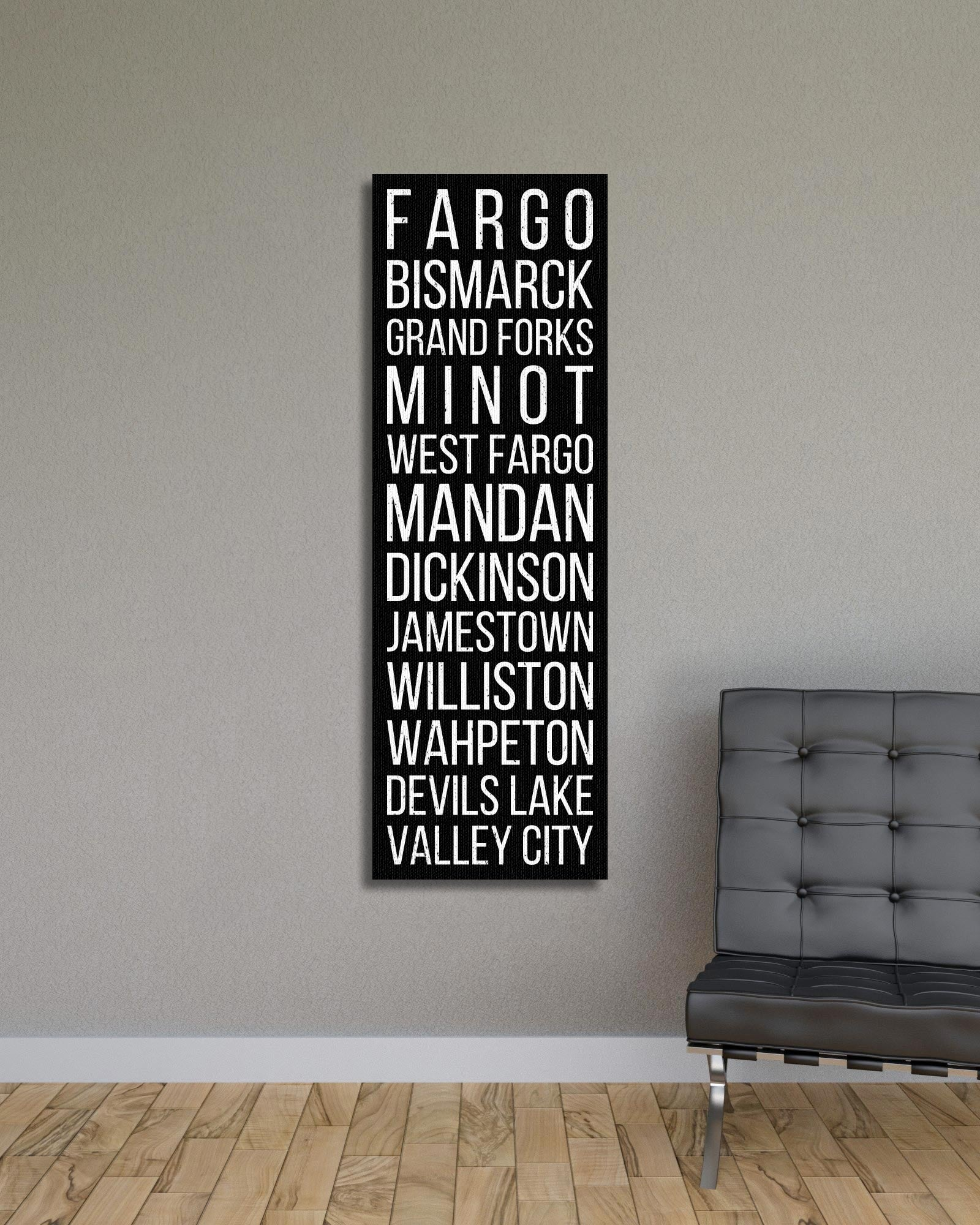 North Dakota Fargo Bismarck Grand Forks Bus Scroll Subway Canvas Print