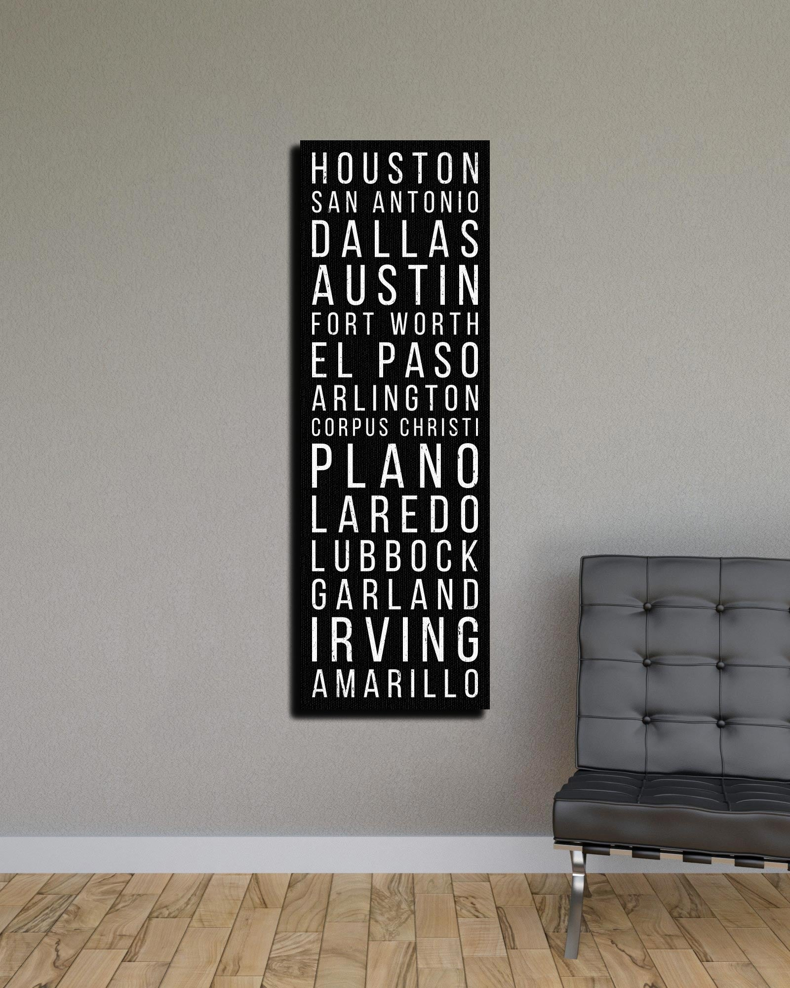 Texas Houston San Antonio Dallas Bus Scroll Subway Canvas Print