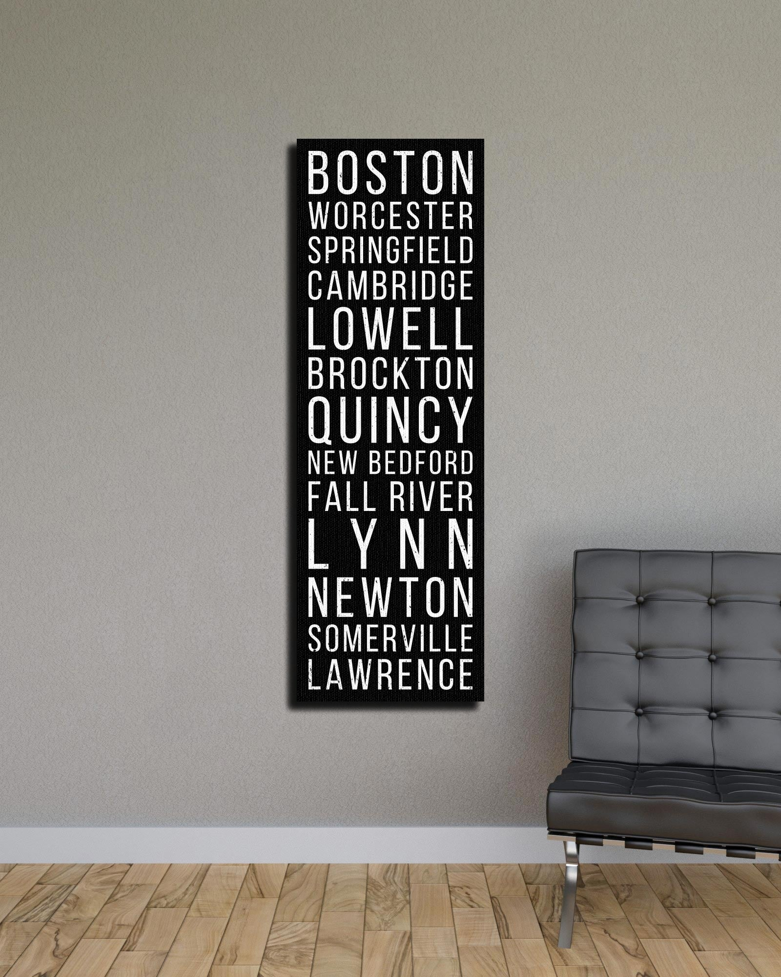 Massachusetts Boston Worcester Springfield Bus Scroll Subway Canvas Print