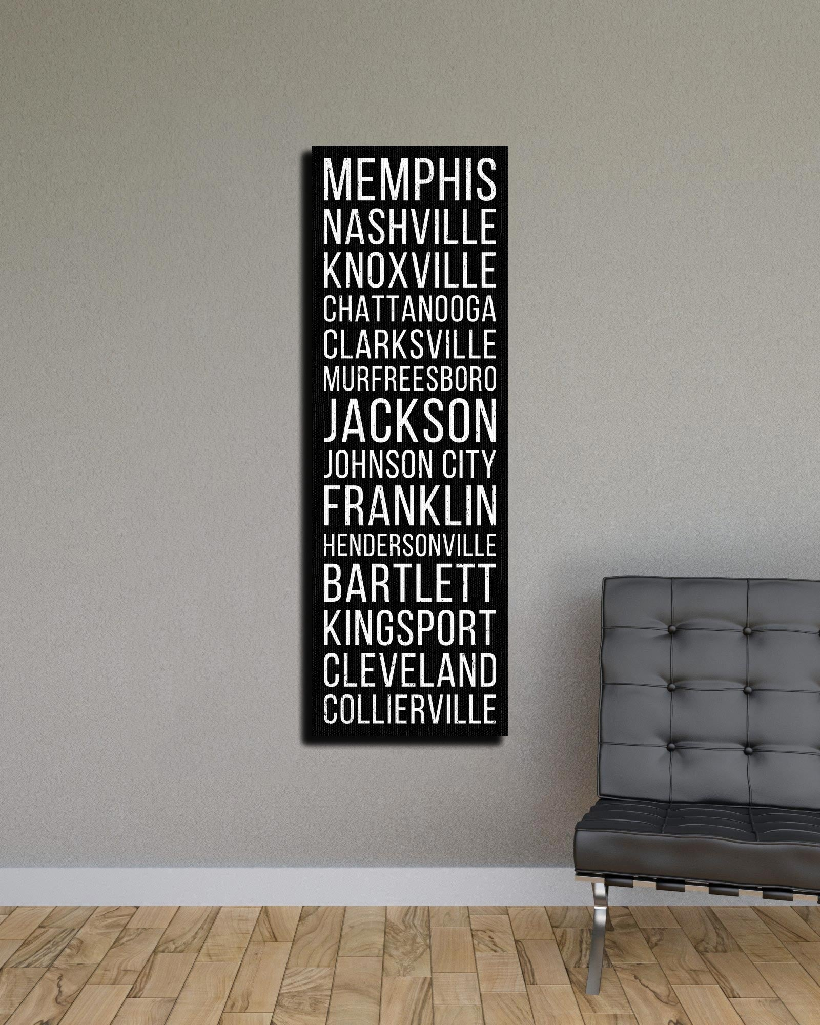 Tennessee Memphis Nashville Knoxville Bus Scroll Subway Canvas Print