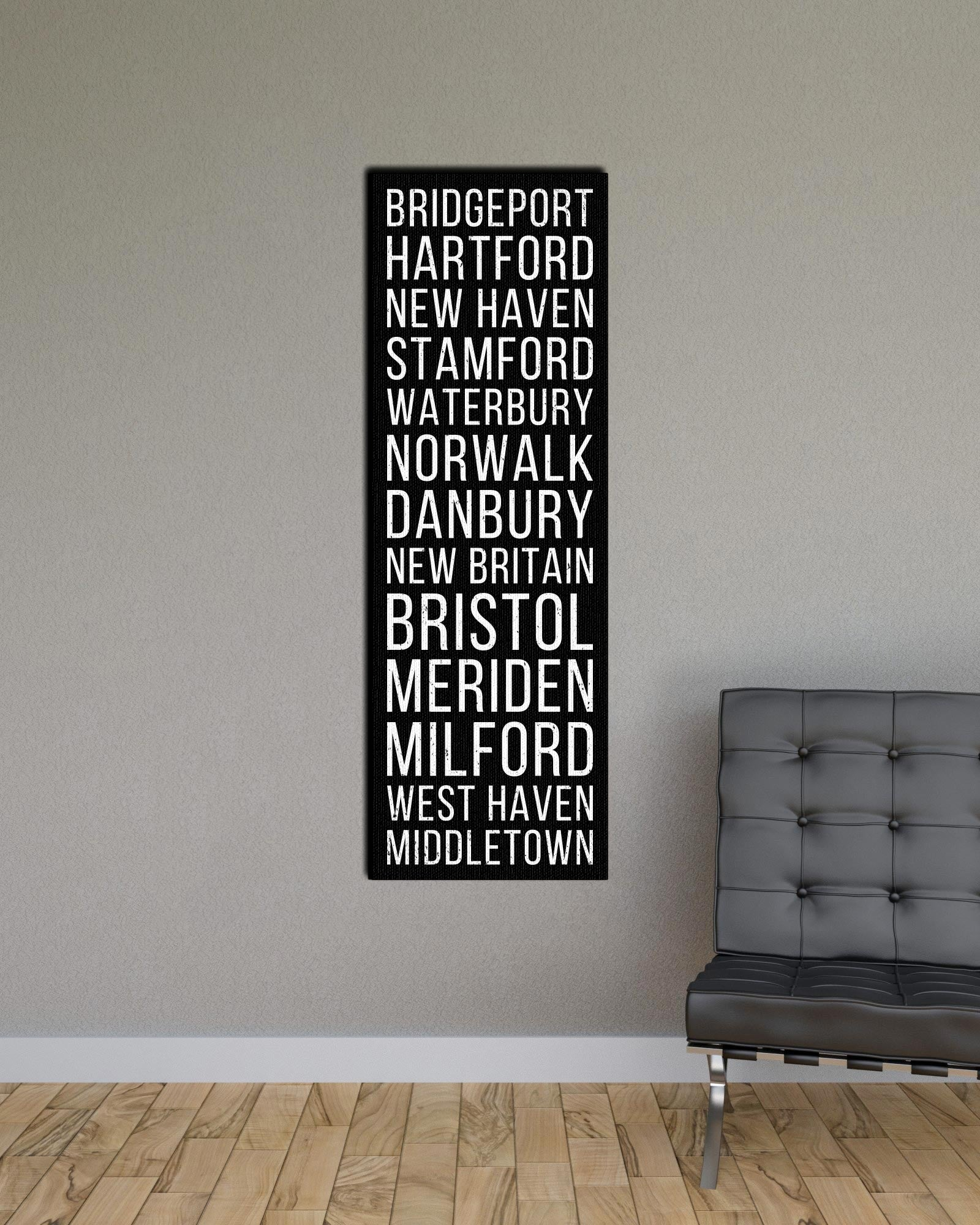 Connecticut Bridgeport Hartford New Haven Bus Scroll Subway Print