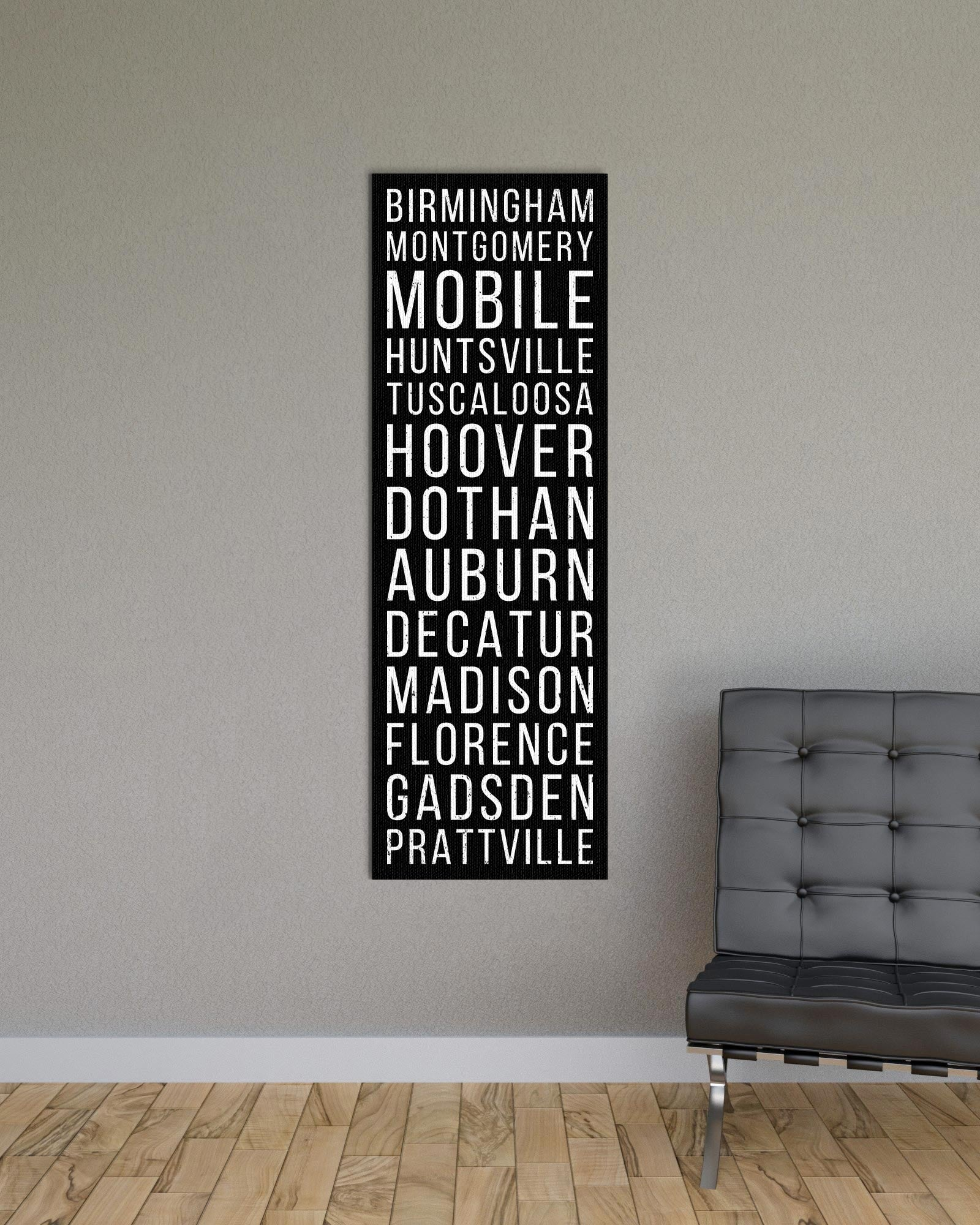 Alabama Birmingham Montgomery Mobile Bus Scroll Subway Print