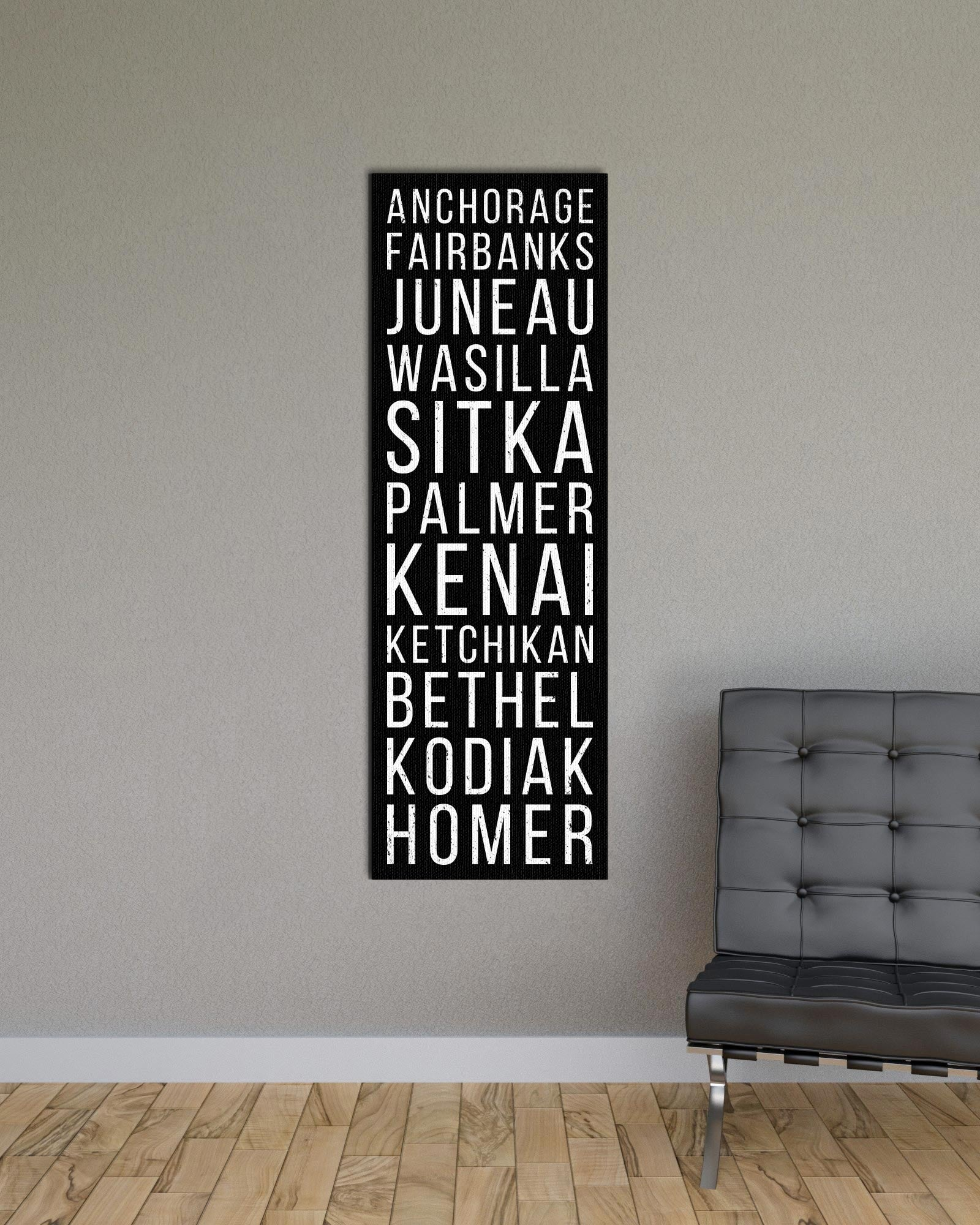 Alaska Anchorage Fairbanks Juneau Bus Scroll Subway Print
