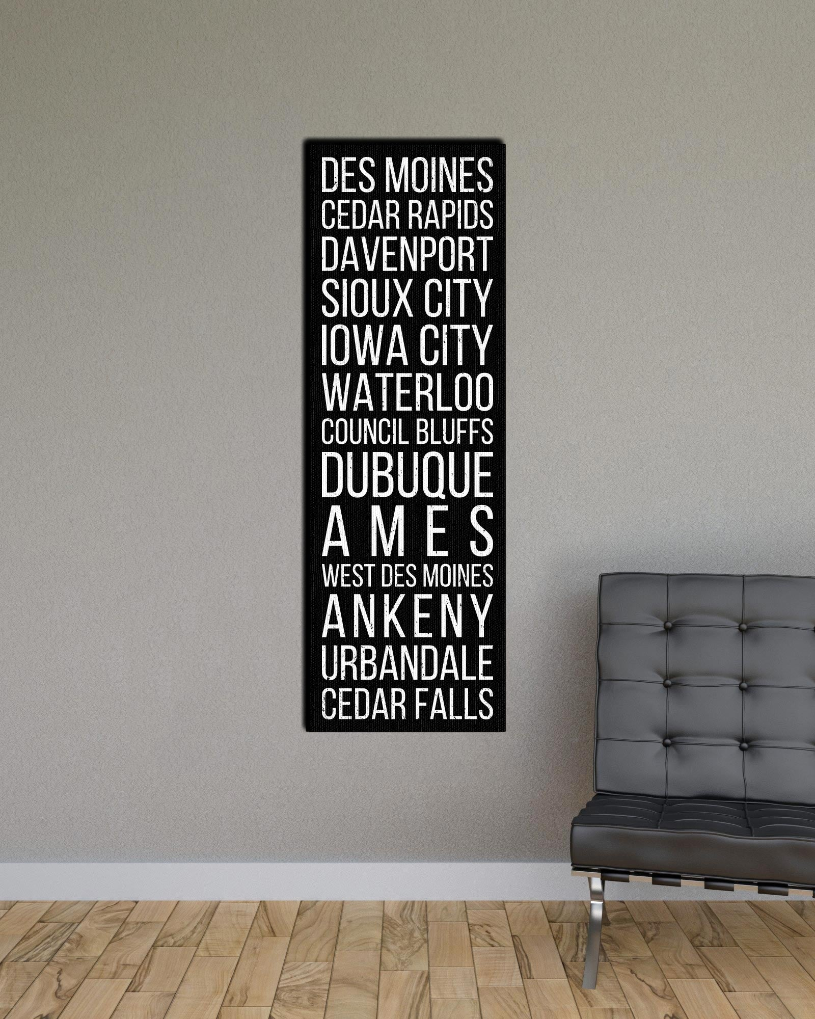 Iowa Des Moines Cedar Rapids Davenport Bus Scroll Subway Print