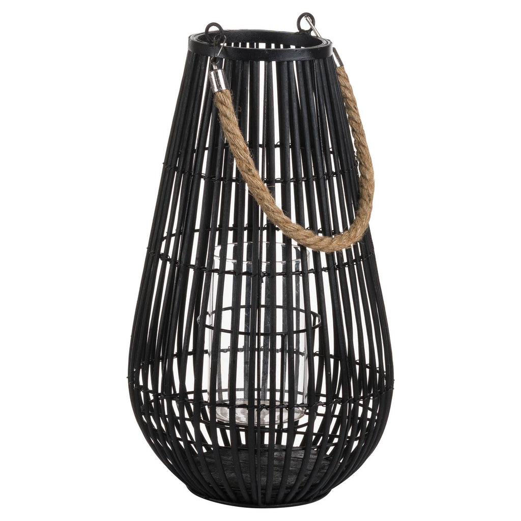 Large Rattan Lantern With Rope Detail