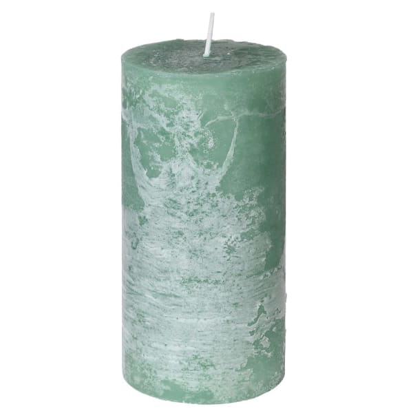 Medium Sage Rustic Pillar Candle