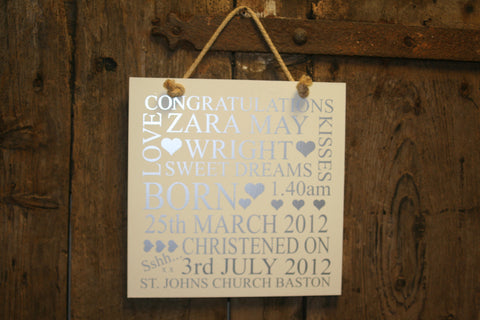 Christening Plaque