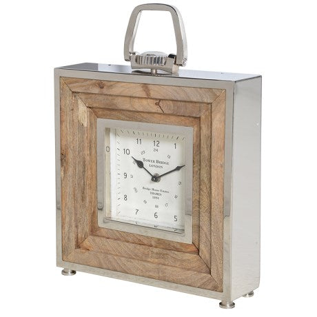 Square Wood and Steel Clock - Large
