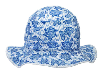 The Funky Bucket by Swimlids Blue and White Turtle SMALL