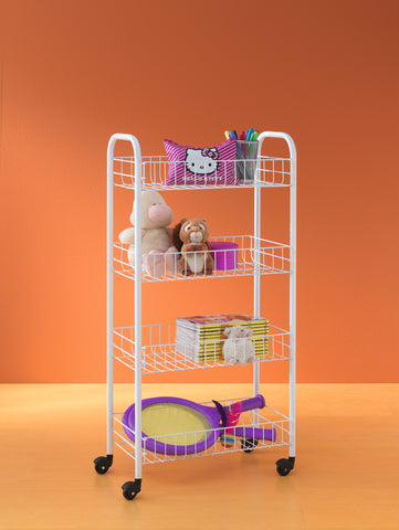 """Pisa"" White Rolling Cart"