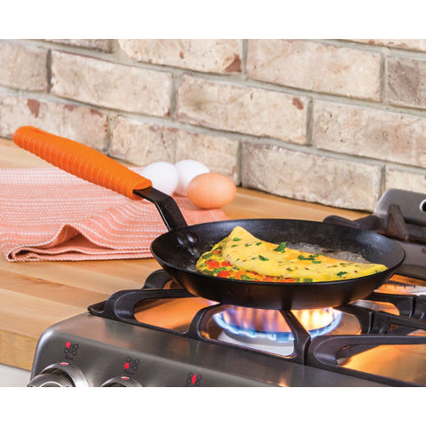 Seasoned Carbon Steel Skillet with Silicone Handle Holder 10""