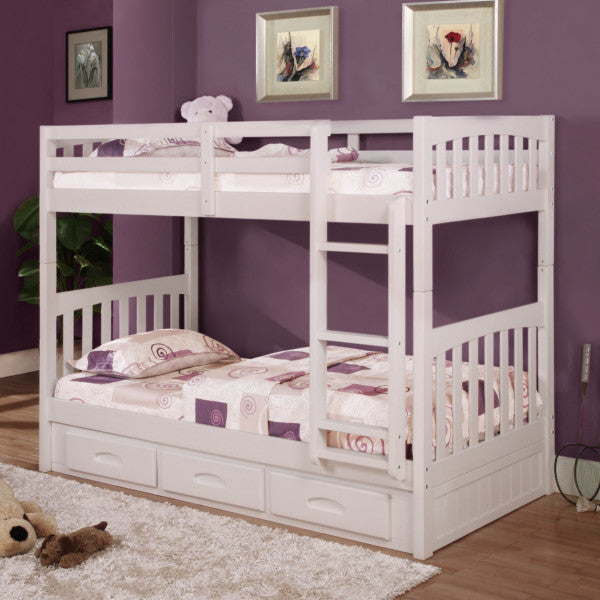 Twin/Twin Bunk Bed White w/ 3 Drawer Underbed Storage