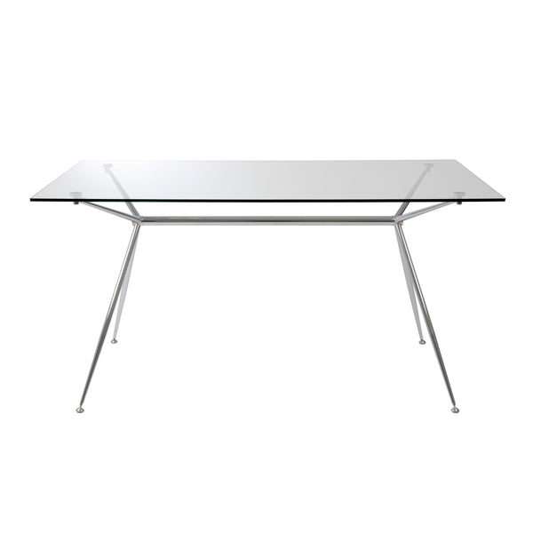 Astra dining table, Clear glass w/ chrome base 66""
