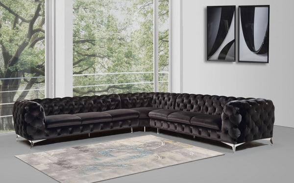 Dalina Modern Black Fabric Sectional Sofa