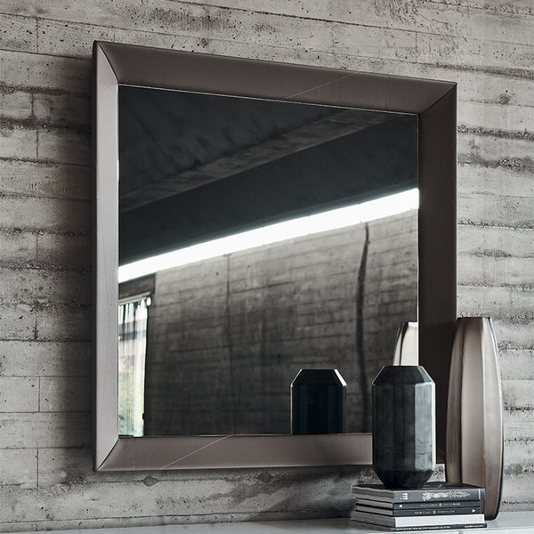 Taxedo leather mirror