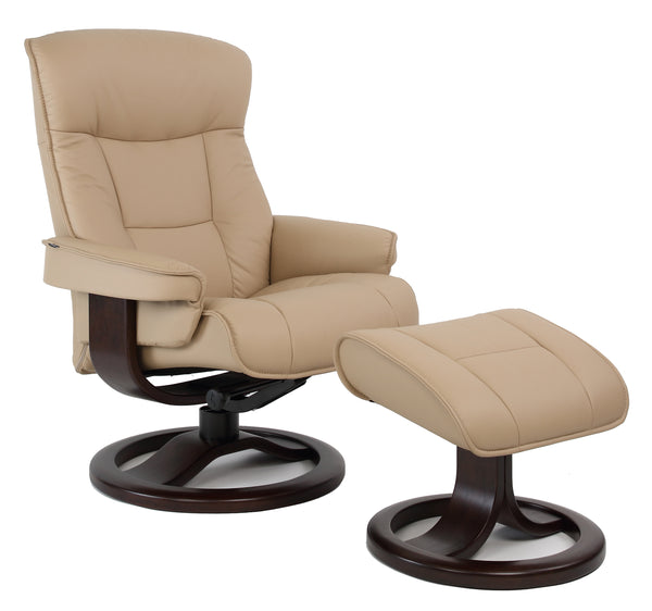 Bergen R Leather Reclining Chair in Sandel