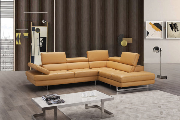 Agata Italian Leather Sectional in Freesia - Euro Living Furniture