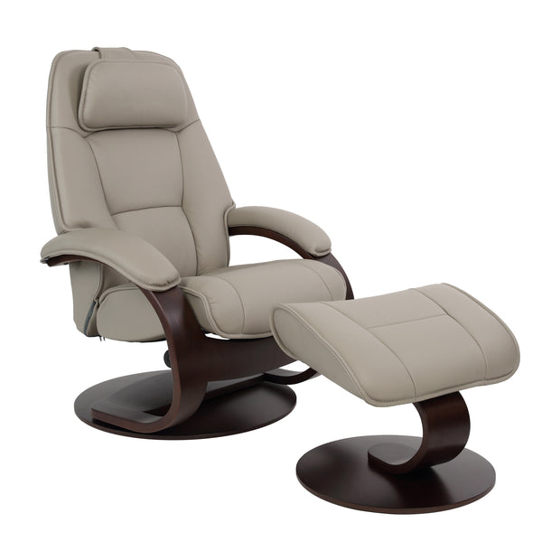 Admiral C Leather Reclining Chair in Cement