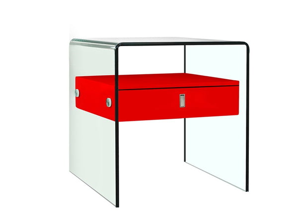Bario Glass Red Nightstand / End Table