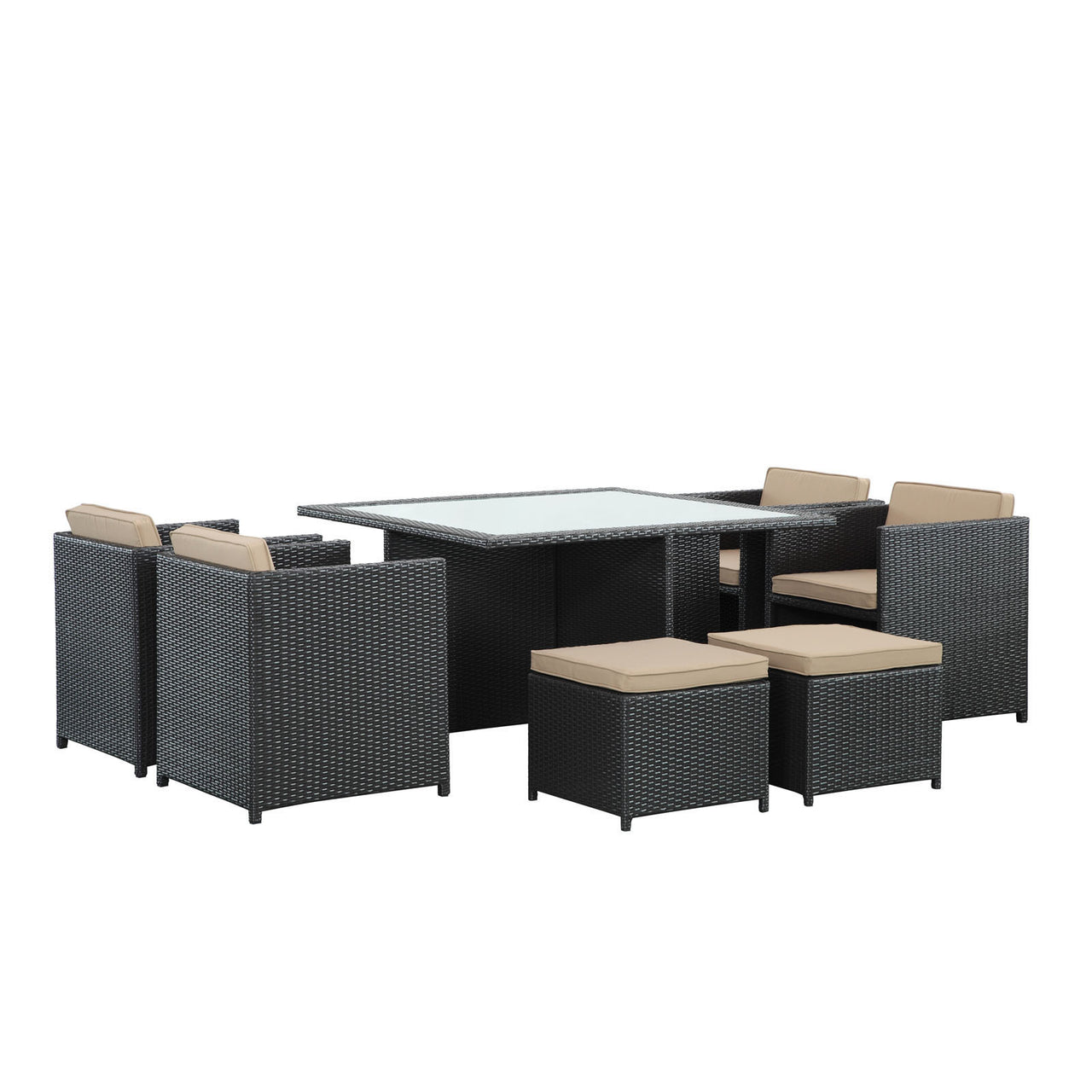 IVY 9 PIECE OUTDOOR PATIO DINING SET - Euro Living Furniture