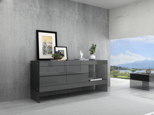 Grey Float Modern Buffet in High Gloss
