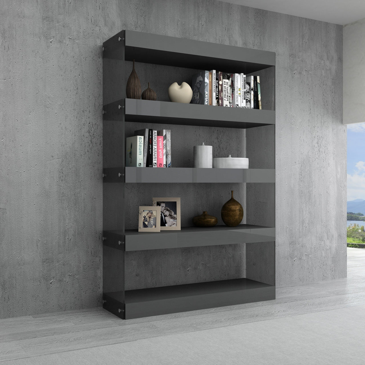 Grey Float Curio Unit in High Gloss