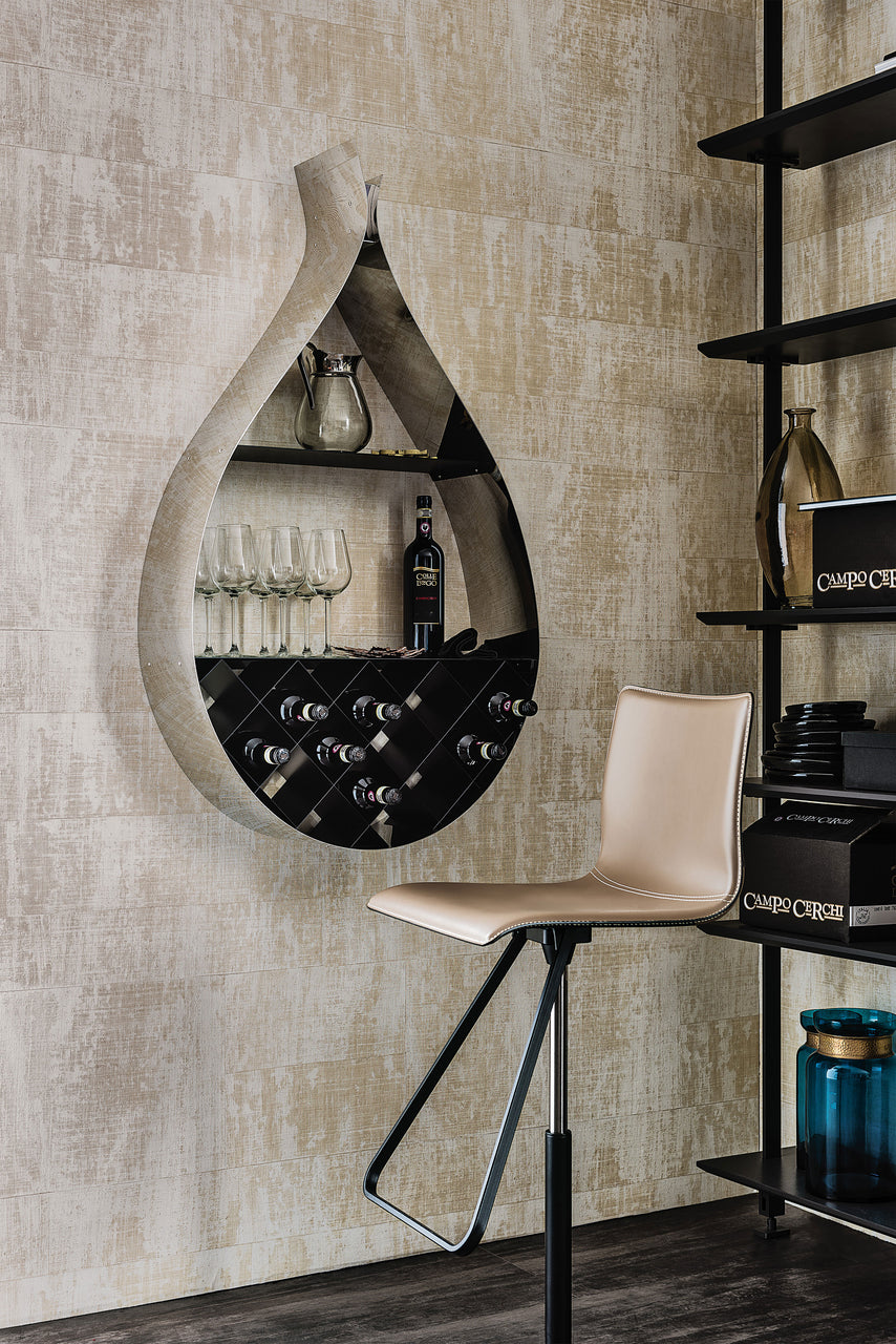 Drop hanging wine rack