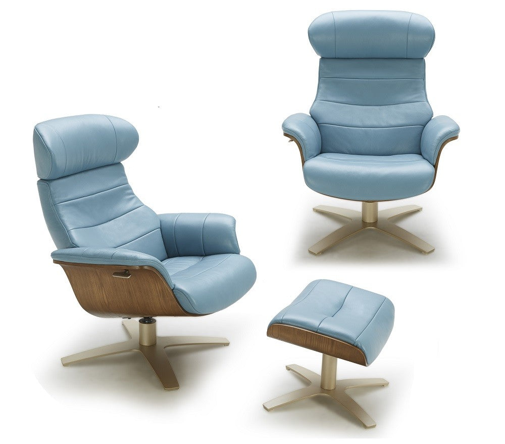 Kara Lounge Chair in Blue Leather