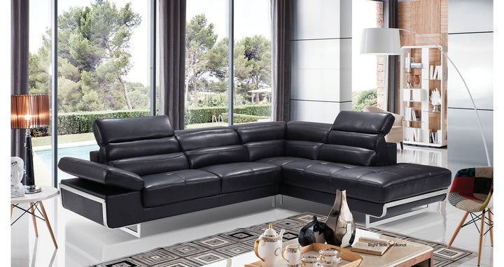 02347 Black Sectional - Euro Living Furniture