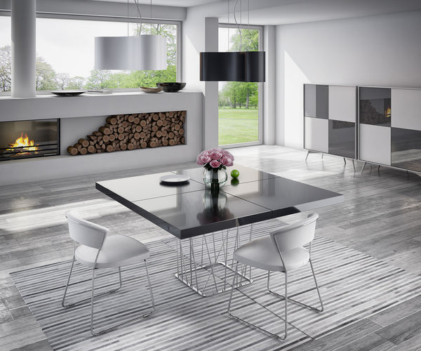 Clarges Dining Table in Black or White Lacquer - Euro Living Furniture