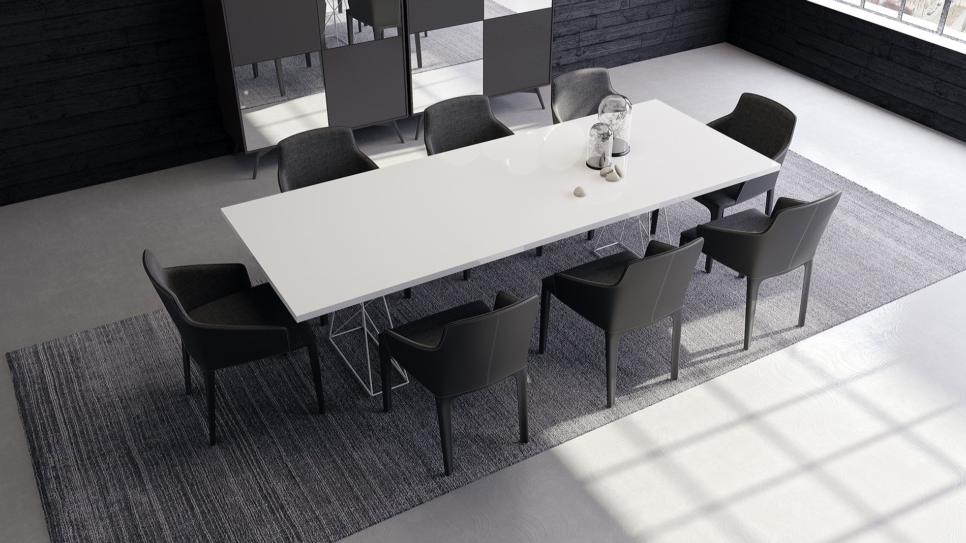 Curzon White Lacquer Dining Table 87 or 102 Euro Living