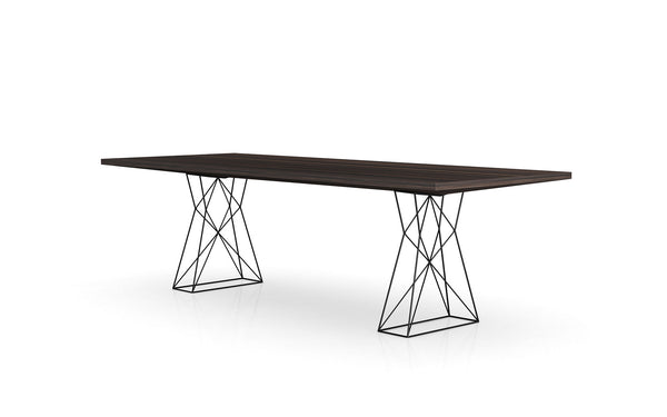 "Curzon Dining Table - 87"" or 102"" in Smoked Oak"