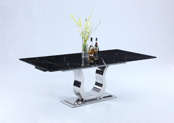 Nadine  Dining Table: Black Marble