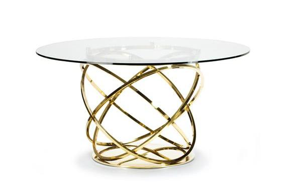 "ORB 58"" ROUND DINING TABLE - GOLD"