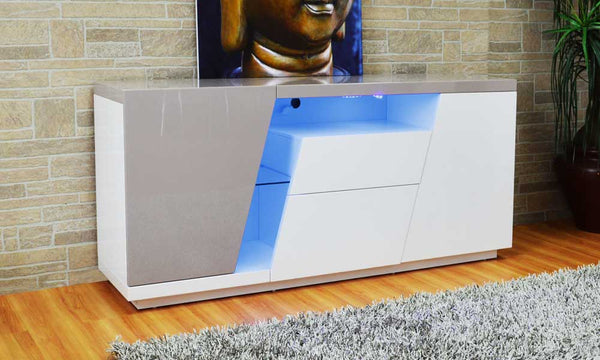 LED White/Gray Lacquer Buffet