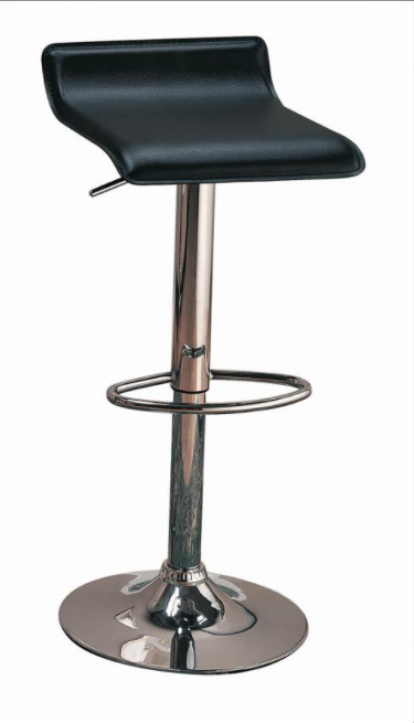 390 Barstool in Black Faux Leather