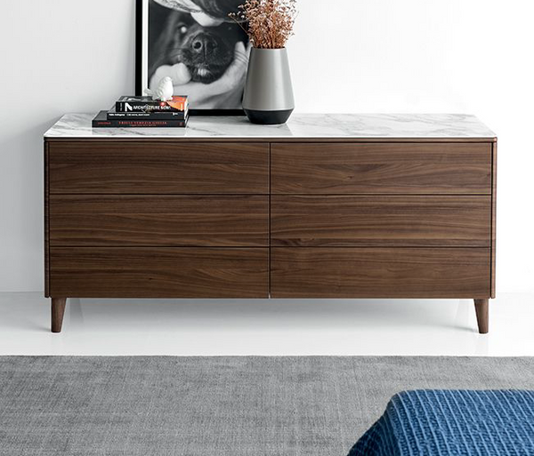 Boston Dresser w/ Marble By Calligaris in Walnut finish