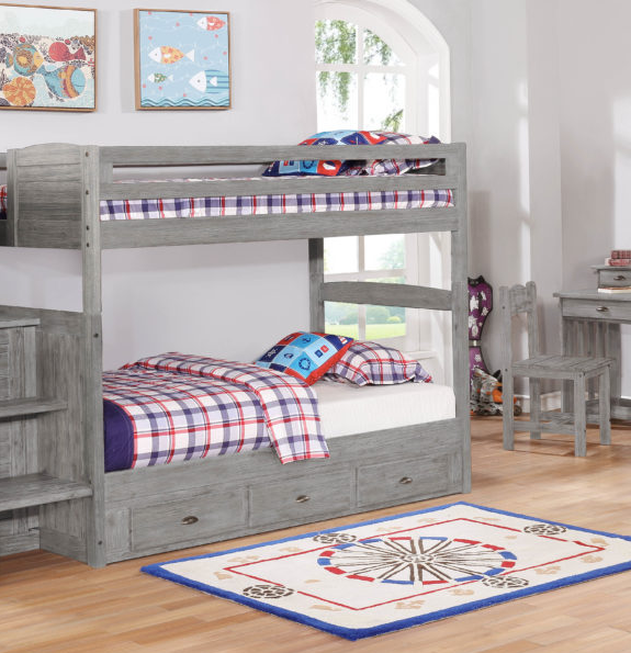 Twin over Twin bunkbed in grey wood
