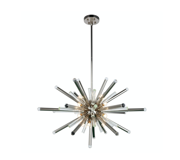 "Maxwell 38"" 14 light Polished Nickel Chandelier Clear Royal Cut Crystal"