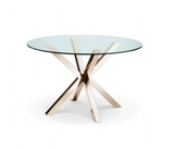 BERTA ROUND DINING TABLE - GOLD - Euro Living Furniture