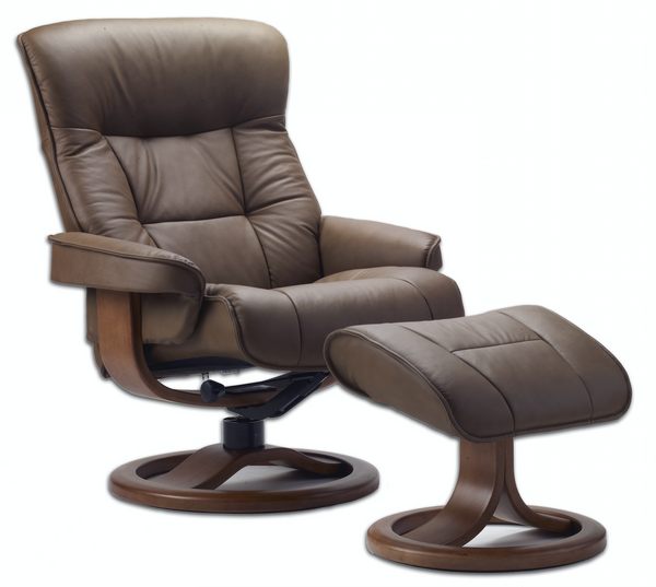 Bergen R Leather Reclining Chair in Cappuccino