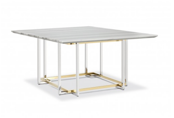 LIN SQUARED GOLD/MARBLE DINING TABLE